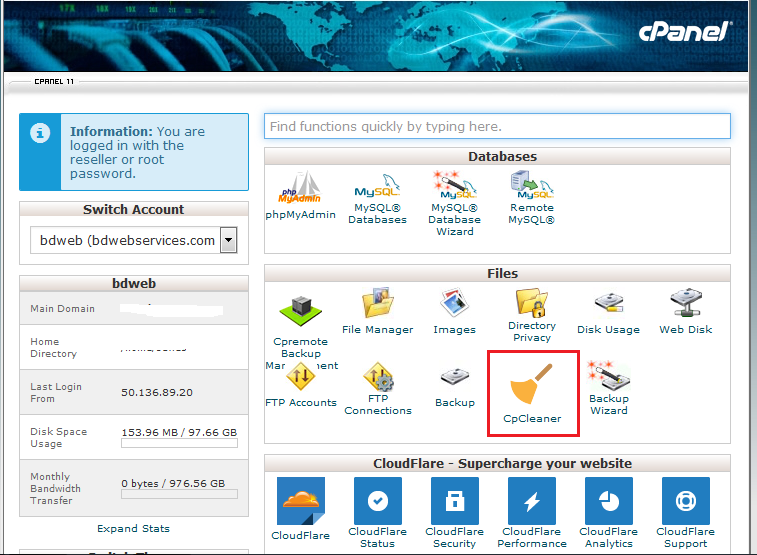 Step1: Cpanel -> Files -> CpCleaner